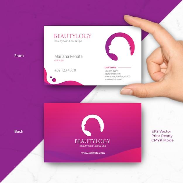 Beauty business card template for salon, spa, hair dresser, fashion, skin care, business woman Premi