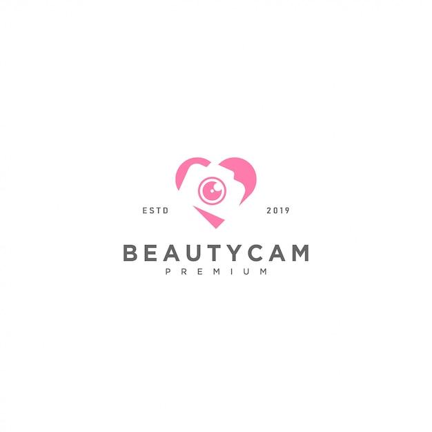 Beauty camera logo template Premium Vector