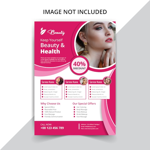 Beauty care flyer  for caring beauty Premium Vector