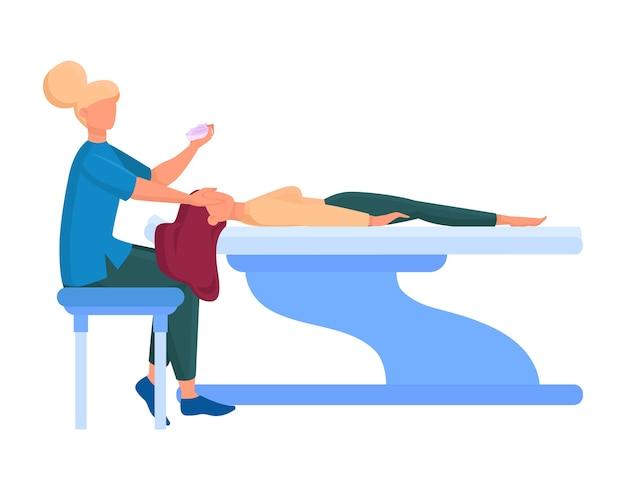 美容センターサービス。手続きが異なる美容院訪問者。サロンの女性キャラクター。皮膚治療と美容師の手順。図 Premiumベクター