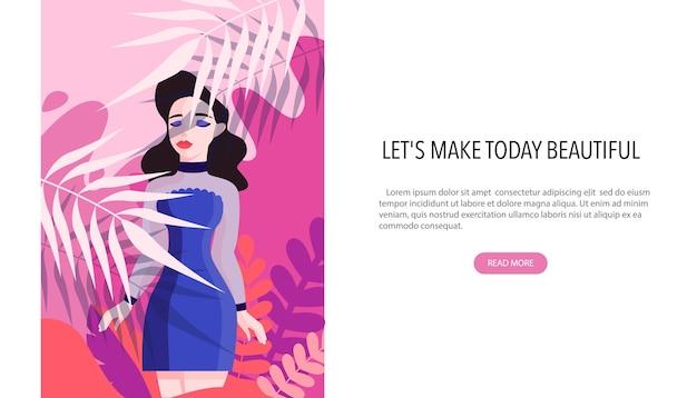 ビューティーセンターのwebバナーのコンセプト。ビューティーサロンは別の手順を提供します。きれいな女性キャラクター。プロの美容トリートメントのコンセプトです。 Premiumベクター