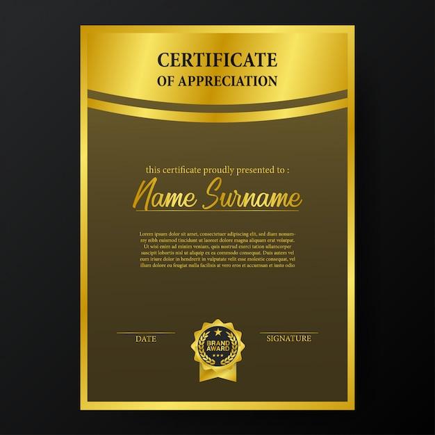 Beauty certificate with golden brand award medal emblem template Premium Vector