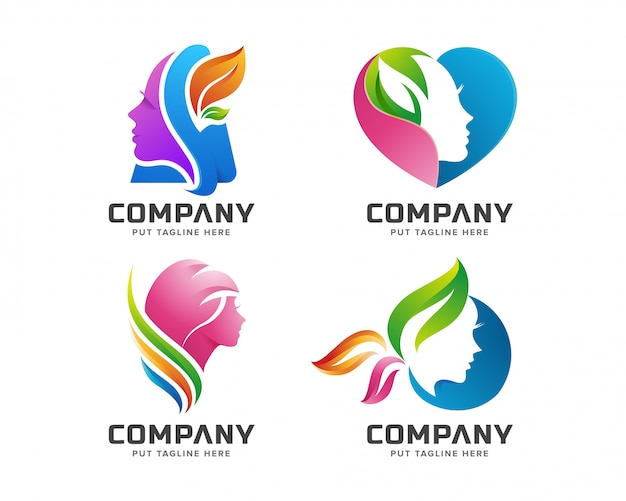Beauty colorful feminine spa logo Premium Vector