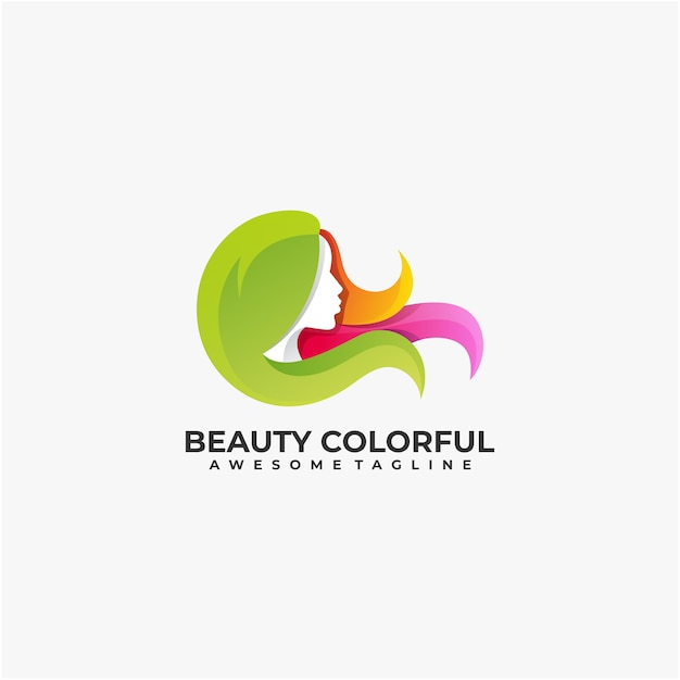 Beauty colorful illustration abstract logo design Premium Vector