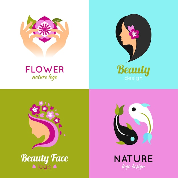 Beauty concept 4 flat square Free Vector