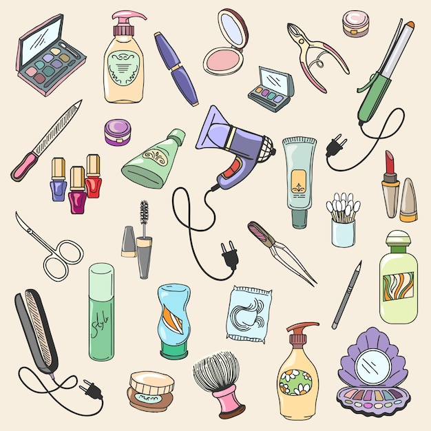 Beauty and cosmetic hand drawn items for care and fashion makeup. hand draw beauty and cosmetic vector icons Free Vector