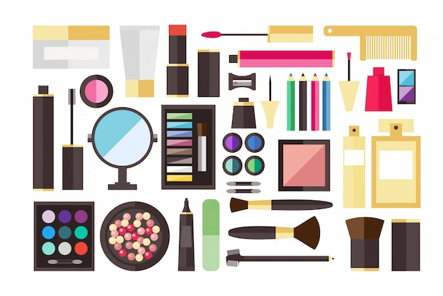 Beauty cosmetic icon set Premium Vector