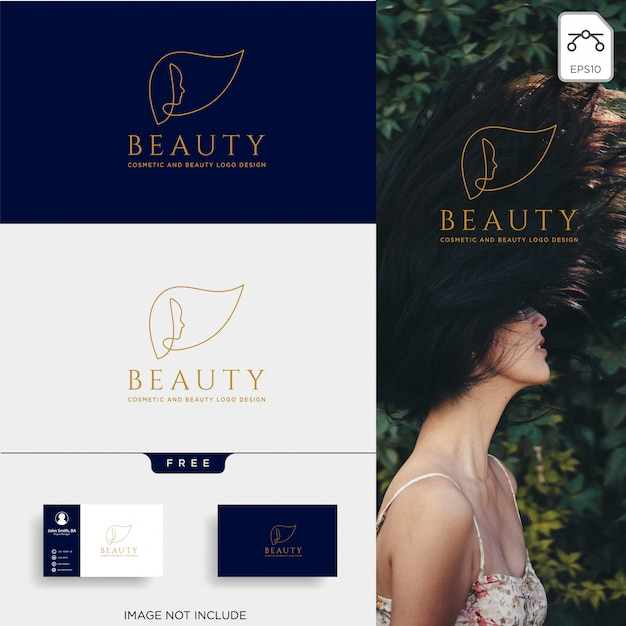 Beauty cosmetic line art logo vector icon element Premium Vector
