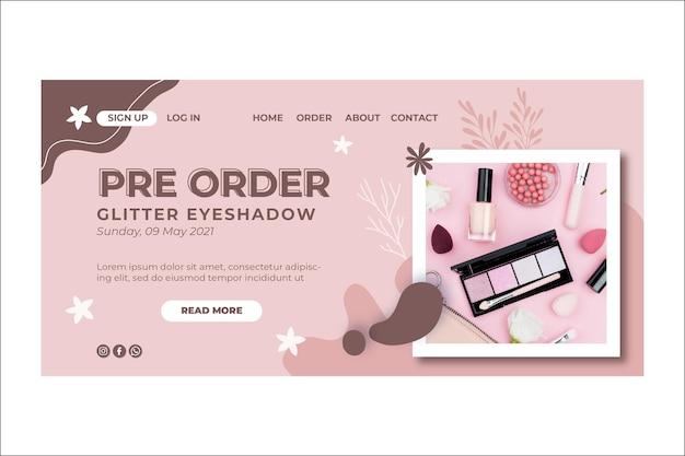 美容化粧品ナチュラルメイクランディングページ Premiumベクター