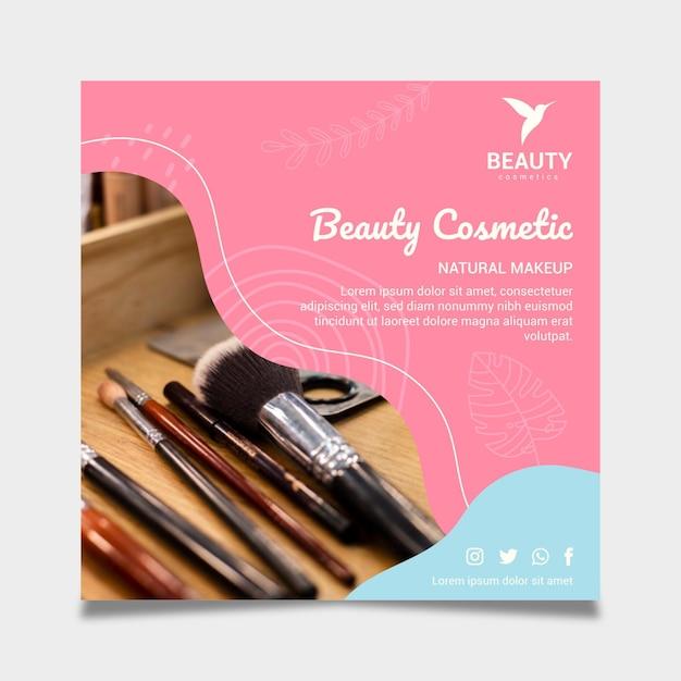 美容化粧品ナチュラルメイクスクエアチラシテンプレート 無料ベクター