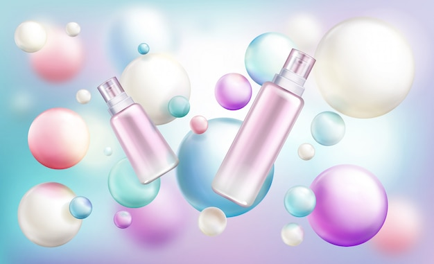 Beauty cosmetics different size bottles Free Vector