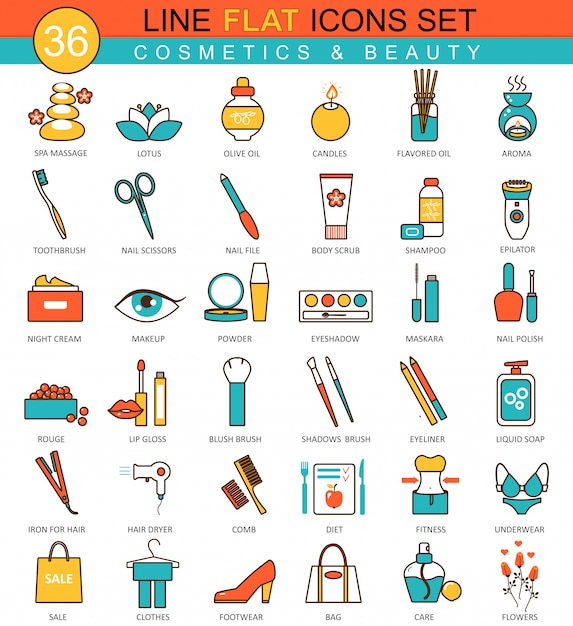 Beauty and cosmetics flat line icons Premium Vector