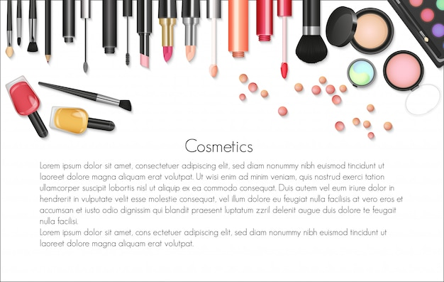Beauty cosmetics makeup background Premium Vector