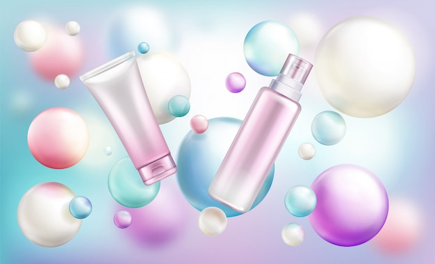 Beauty cosmetics tubes with pump and cap on rainbow defocused Free Vector