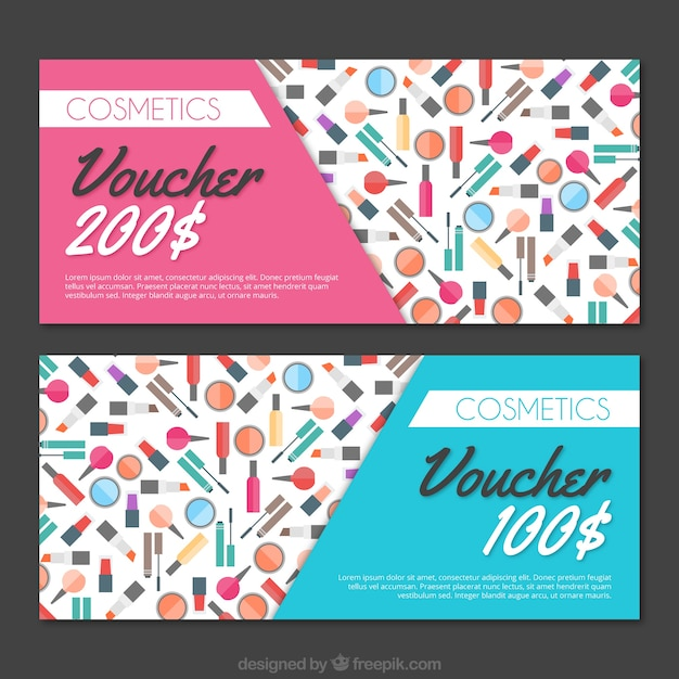 Beauty discount coupon in flat design Free Vector