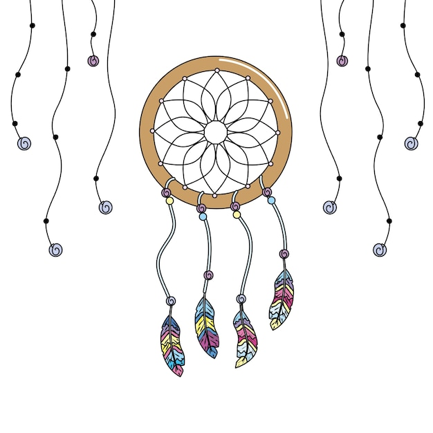 Beauty dream catcher with feathers design Premium Vector