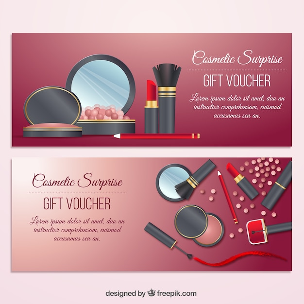 Beauty elements gift banners Free Vector