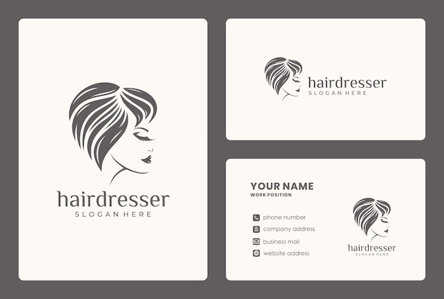Beauty face, hair style, woman logo design with business card template. Premium Vector