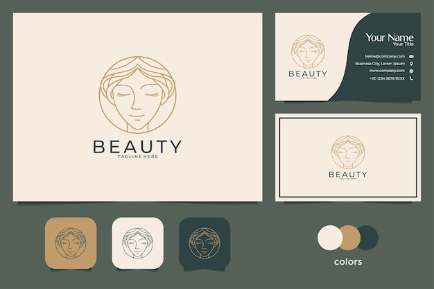 Beauty face logo design and business card. good use for fashion, spa and salon logo Premium Vector