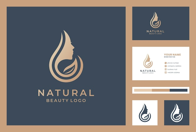 Beauty face logotype with business card template.