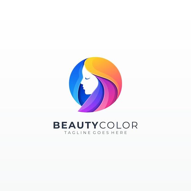 Красота фотомодель девушка с красочными длинными окрашенными волосами Premium векторы