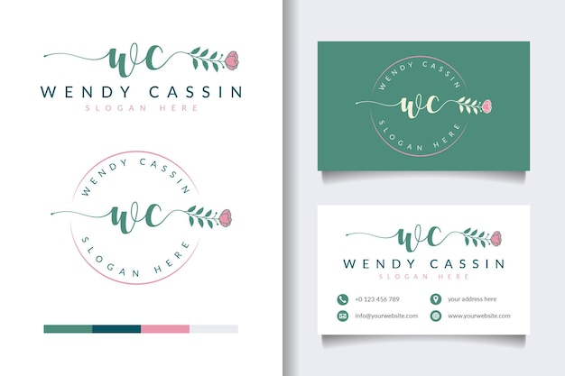 Beauty feminine logo collections with business card template Premium Vector