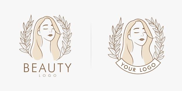 Beauty floral feminine salon logo Premium Vector