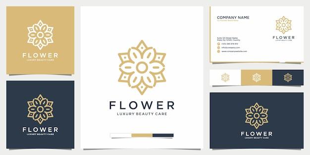 ビューティーフラワーのロゴデザイン、サロン、ファッション、スキンケア、化粧品、ヨガ、名刺 Premiumベクター