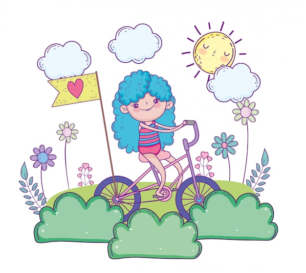 Beauty girl play and ride bicycle Premium Vector