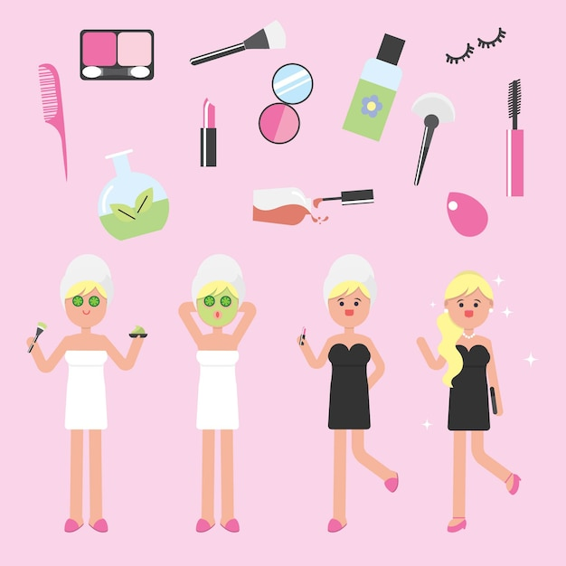 Beauty girls with make up set Premium Vector