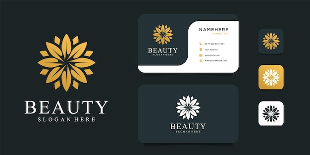 Beauty gold flower logo design with business card template. Premium Vector