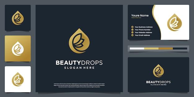 ビューティーゴールドウォータードロップとオリーブオイルホワイトの豪華な葉のロゴと名刺のデザイン Premiumベクター