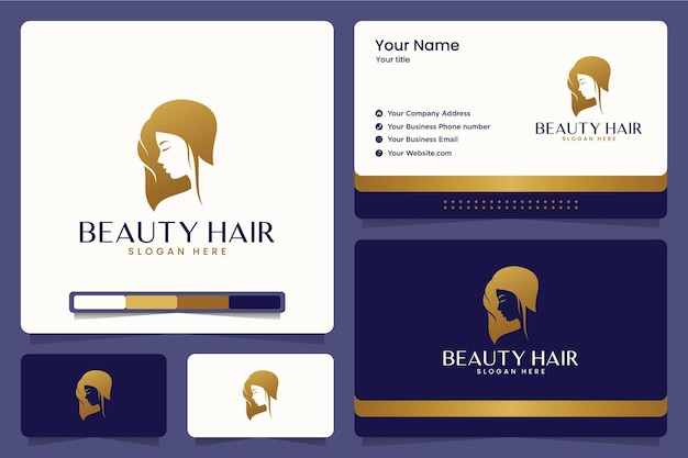 Beauty hair , haircut , salon , logo design and business cards Premium Vector