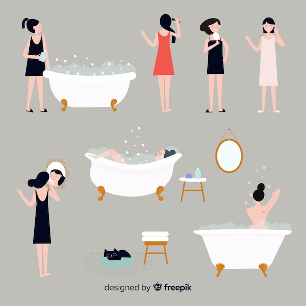 Beauty and hygiene actions set Free Vector