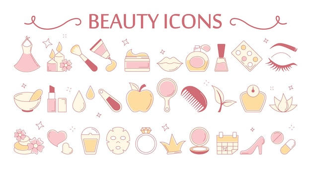 Beauty icon set. collection of cosmetic and skin Premium Vector