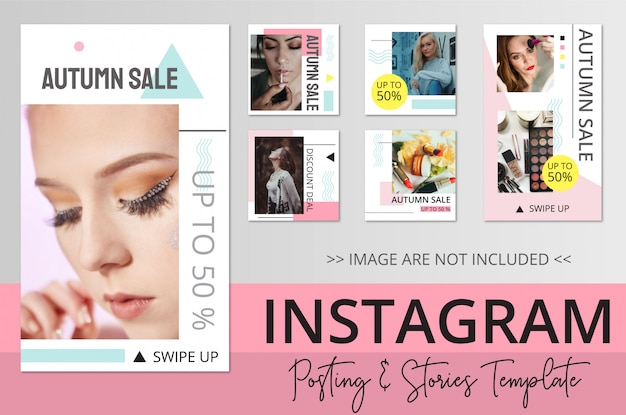 Beauty instagram posting and stories template Premium Vector