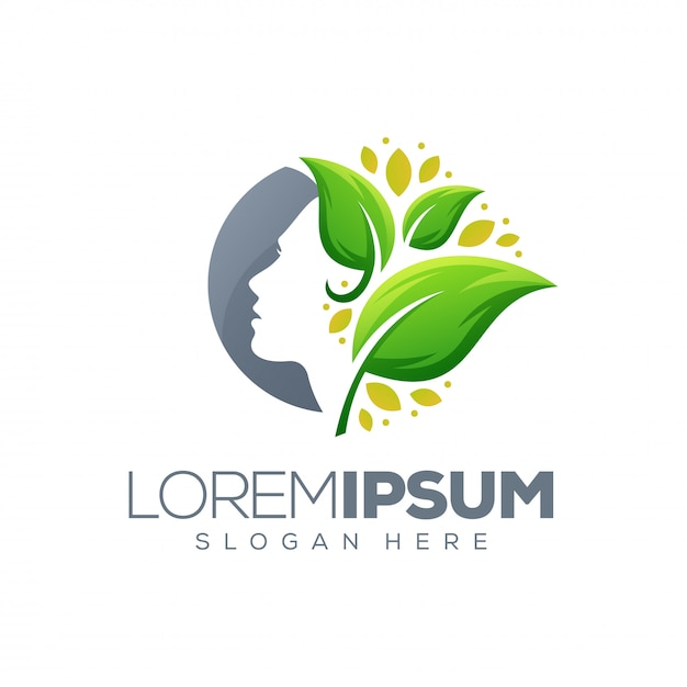Beauty leaf logo Premium Vector