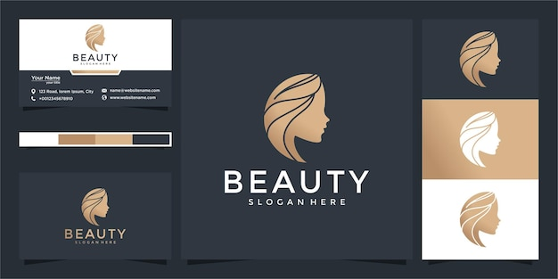 モダンなコンセプトと名刺デザインの女性のための美しさのロゴ Premiumベクター