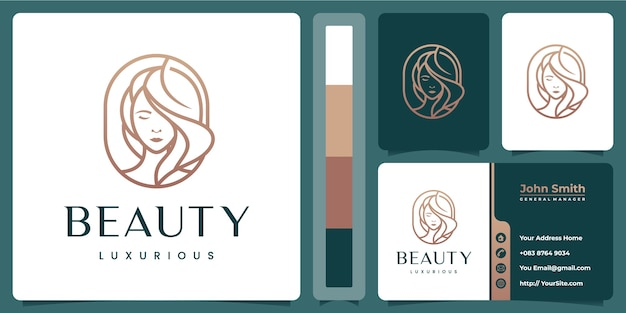 Beauty logo template with business card Premium Vector