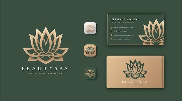 ビューティーロータスのロゴと名刺のデザイン Premiumベクター