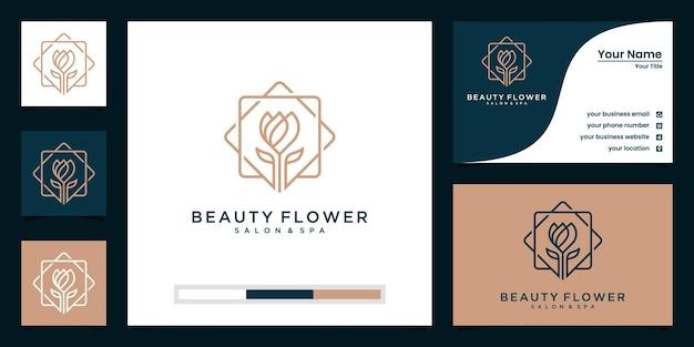 ラインアートスタイルのロゴデザインと名刺と美容蓮。スパ、サロン、ファッションのロゴに最適 Premiumベクター
