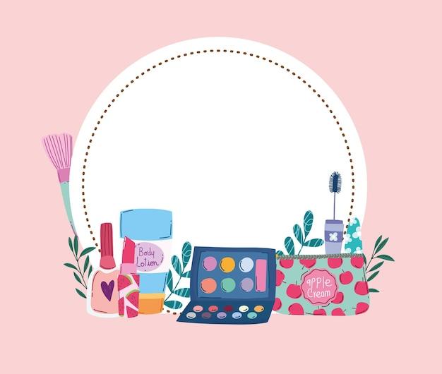 美容メイクアイシャドウパレットクリームマスカラとマニキュア花バッジベクトルイラスト Premiumベクター