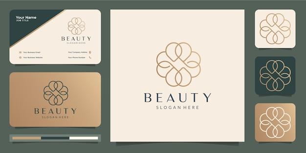 美容ミニマリストの花のロゴと名刺 Premiumベクター