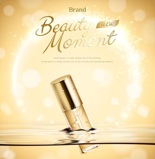 Beauty moment droplet bottle float in water on golden glittering background in 3d illustration Premium Vector