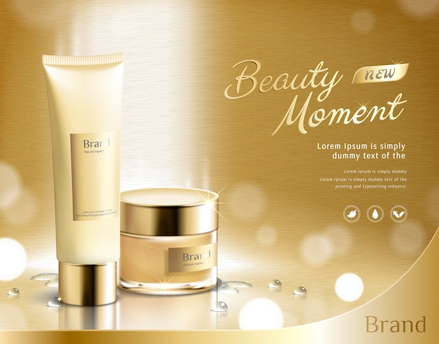 Beauty moment skincare product set on golden glittering background in 3d illustration, plastic tube and cream jar Premium Vector