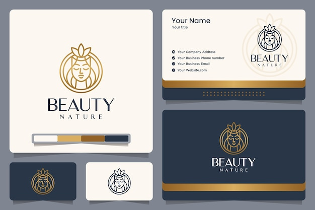 Beauty nature , gold color , girl ,line art , logo design and business card Premium Vector