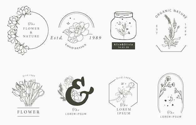 Beauty occult logo collection with geometric,magnolia,lavender,moon,star,flower. Premium Vector