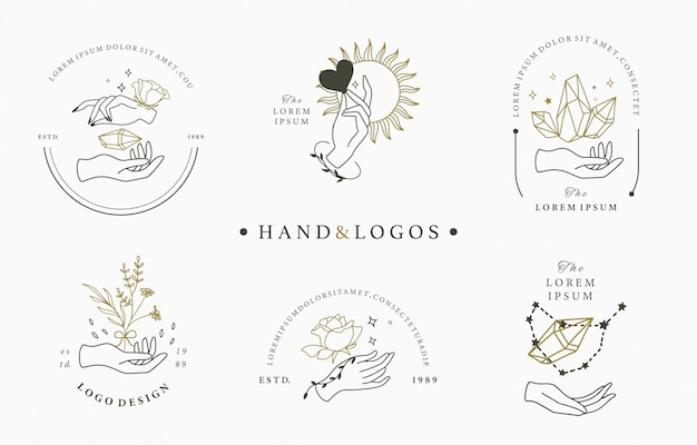 Beauty occult logo collection with hand,geometric,crystal,moon,rose. illustration for icon,logo,sticker,printable and tattoo Premium Vector