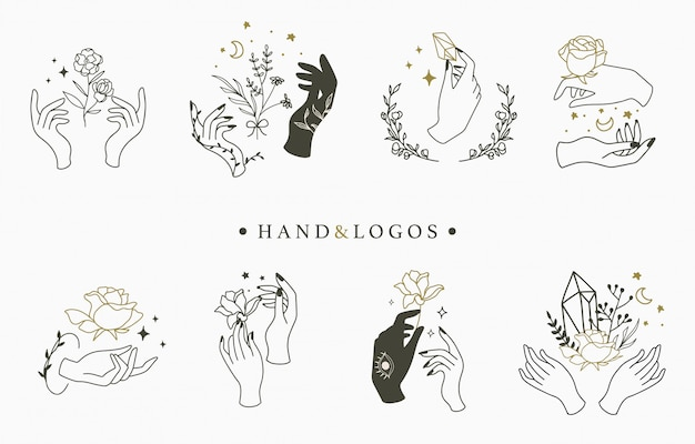 Beauty occult logo collection with hand,geometric,crystal,moon,rose. Premium Vector