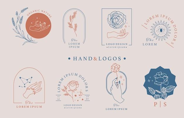 手、幾何学、バラ、月、星、花と美のオカルトロゴコレクション。アイコン、ロゴ、ステッカー、印刷可能なタトゥーのベクトル図 Premiumベクター